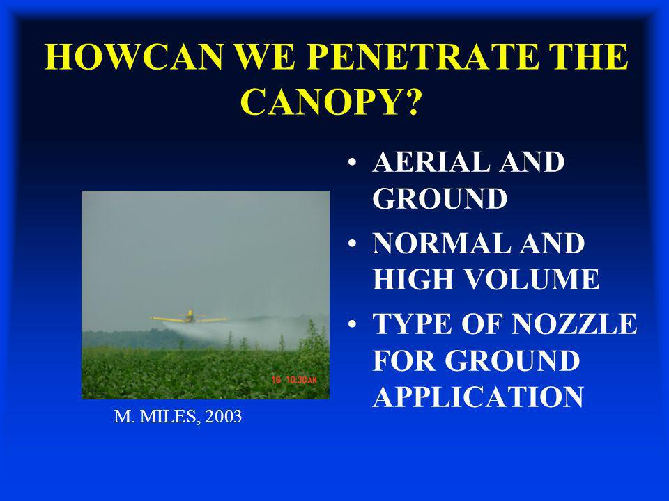 HOWCAN WE PENETRATE THE CANOPY? AERIAL AND GROUND NORMAL AND HIGH VOLUME TYPE OF NOZZLE FOR GROUND APPLICATION M. MILES, 2003