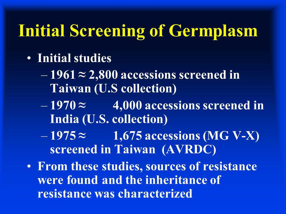 Initial Screening of Germplasm Initial studies –1961 2,800 accessions screened in Taiwan (U.S collection) –1970 4,000 accessions screened in India (U.