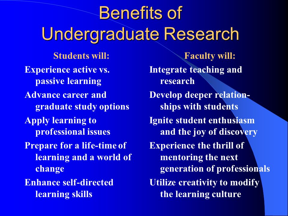 Benefits of Undergraduate Research Students will: Experience active vs.
