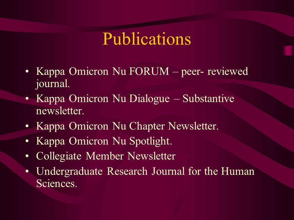 Publications Kappa Omicron Nu FORUM – peer- reviewed journal.
