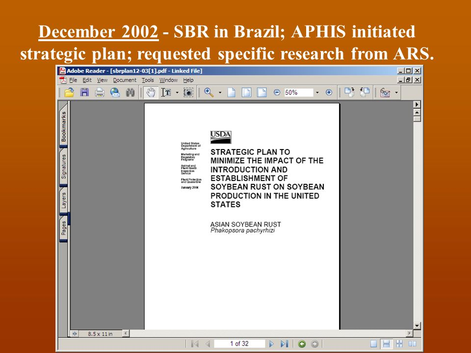 December 2002 - SBR in Brazil; APHIS initiated strategic plan; requested specific research from ARS.