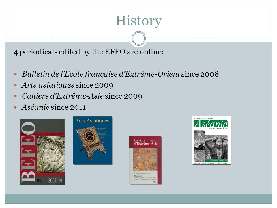 History 4 periodicals edited by the EFEO are online: Bulletin de lEcole française dExtrême-Orient since 2008 Arts asiatiques since 2009 Cahiers dExtrê