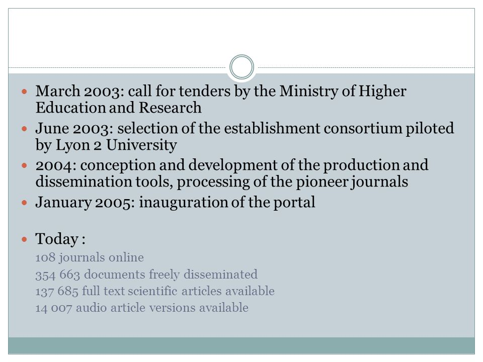 March 2003: call for tenders by the Ministry of Higher Education and Research June 2003: selection of the establishment consortium piloted by Lyon 2 University 2004: conception and development of the production and dissemination tools, processing of the pioneer journals January 2005: inauguration of the portal Today : 108 journals online 354 663 documents freely disseminated 137 685 full text scientific articles available 14 007 audio article versions available