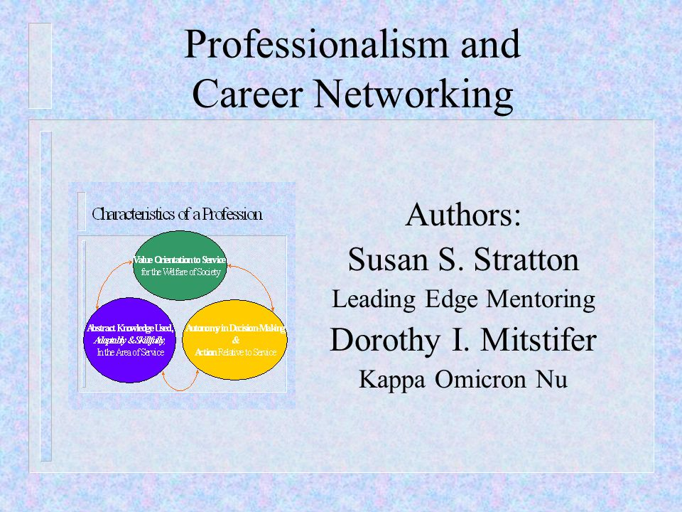 Professionalism and Career Networking Authors: Susan S. Stratton Leading Edge Mentoring Dorothy I. Mitstifer Kappa Omicron Nu