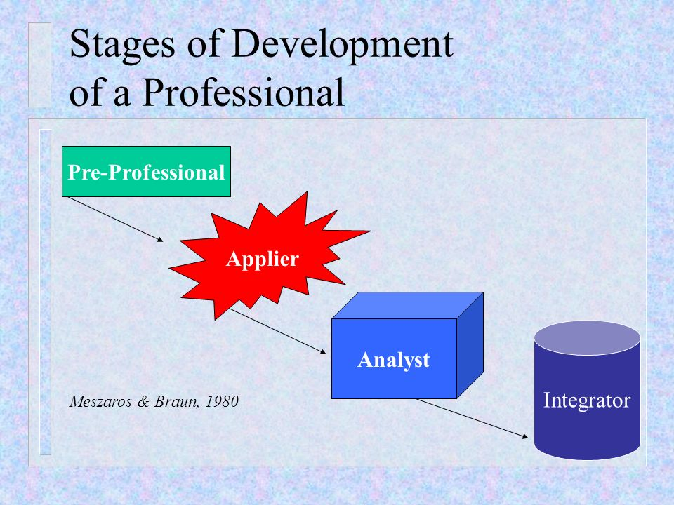 Stages of Development of a Professional Pre-Professional Applier Analyst Integrator Meszaros & Braun, 1980