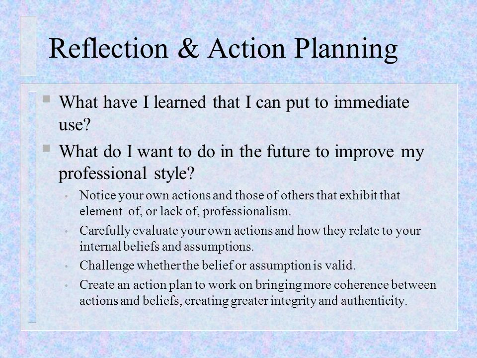 Reflection & Action Planning What have I learned that I can put to immediate use? What do I want to do in the future to improve my professional style?