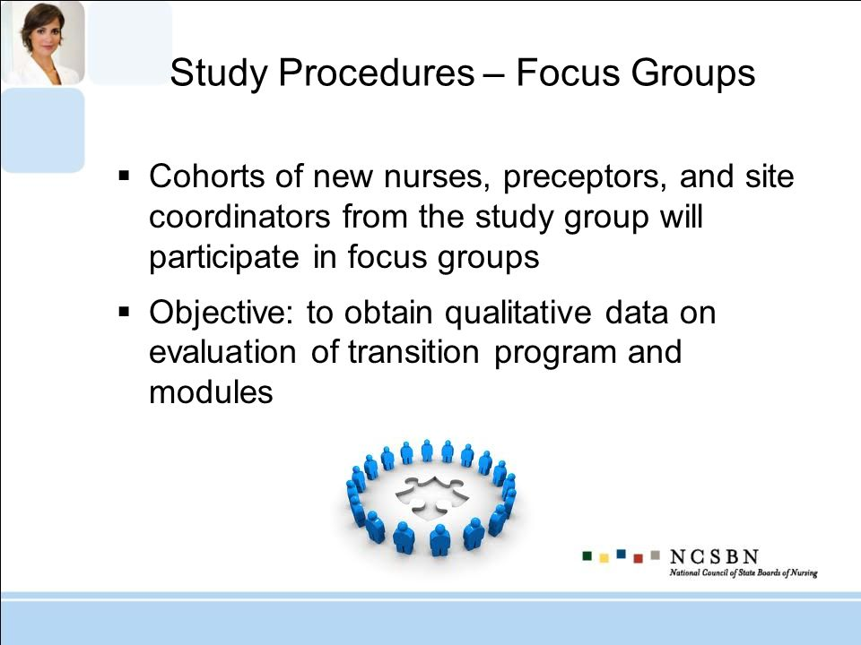 Study Procedures – Focus Groups Cohorts of new nurses, preceptors, and site coordinators from the study group will participate in focus groups Objecti