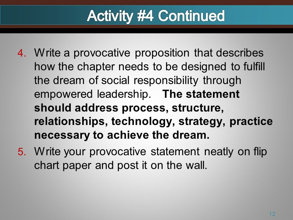 4. Write a provocative proposition that describes how the chapter needs to be designed to fulfill the dream of social responsibility through empowered