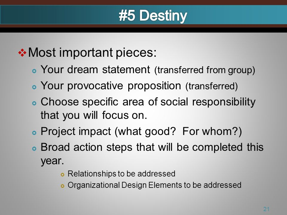 Most important pieces: Your dream statement (transferred from group) Your provocative proposition (transferred) Choose specific area of social responsibility that you will focus on.