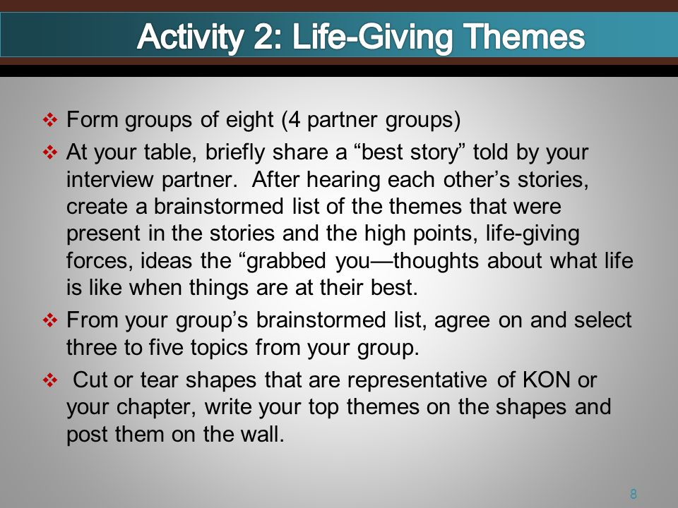 Form groups of eight (4 partner groups) At your table, briefly share a best story told by your interview partner.