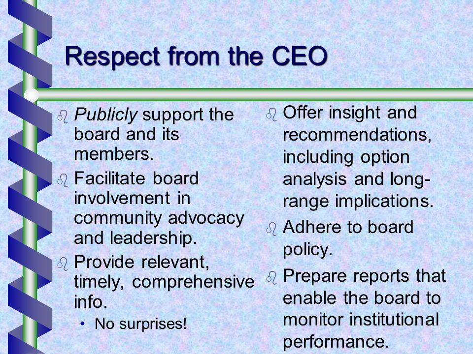 Respect from the CEO Publicly support the board and its members.