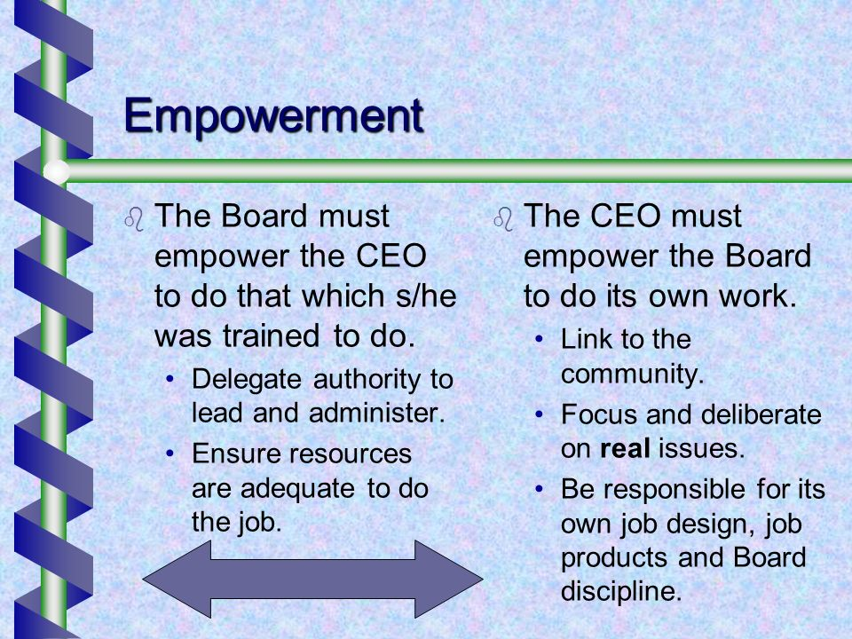 Empowerment The Board must empower the CEO to do that which s/he was trained to do.