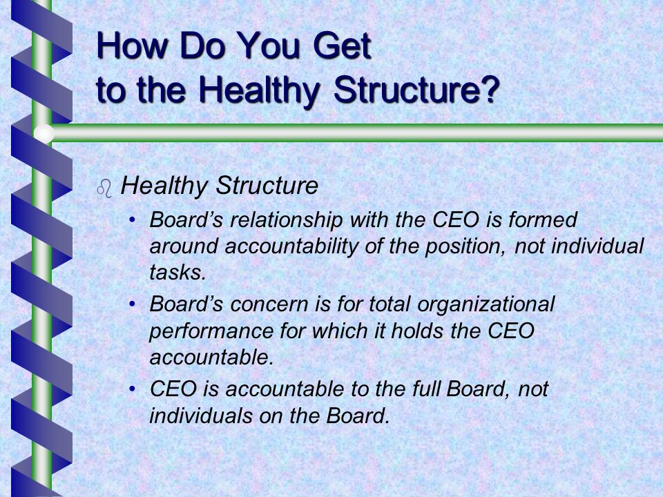 How Do You Get to the Healthy Structure? Healthy Structure Boards relationship with the CEO is formed around accountability of the position, not indiv