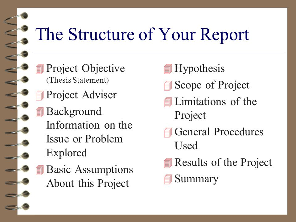 The Structure of Your Report 4 Project Objective (Thesis Statement) 4 Project Adviser 4 Background Information on the Issue or Problem Explored 4 Basic Assumptions About this Project 4 Hypothesis 4 Scope of Project 4 Limitations of the Project 4 General Procedures Used 4 Results of the Project 4 Summary