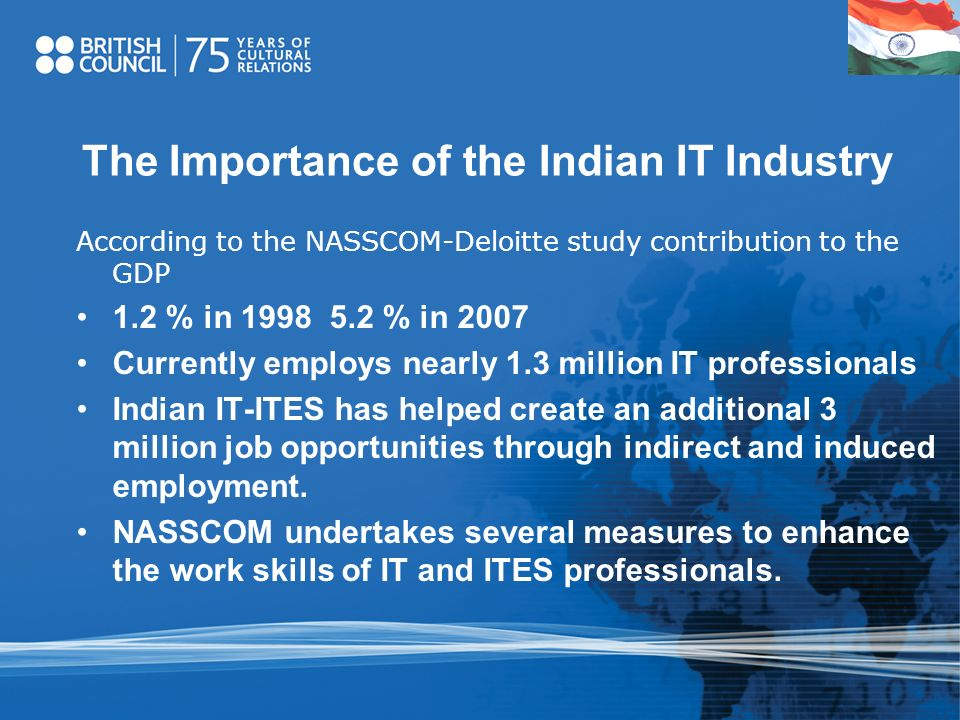 The Importance of the Indian IT Industry According to the NASSCOM-Deloitte study contribution to the GDP 1.2 % in 1998 5.2 % in 2007 Currently employs