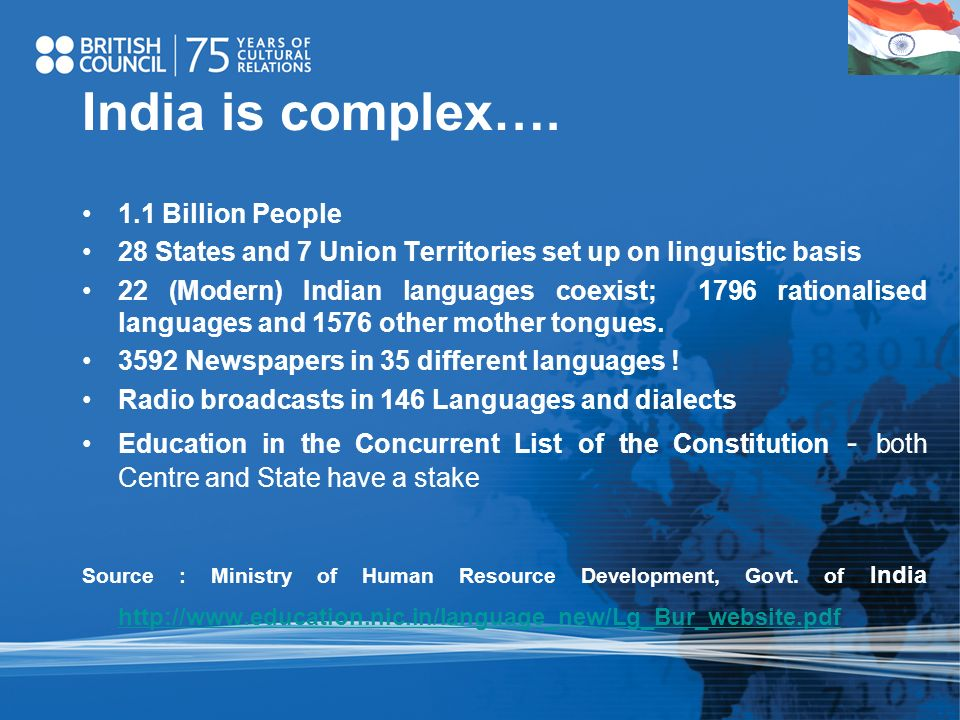 India is complex…. 1.1 Billion People 28 States and 7 Union Territories set up on linguistic basis 22 (Modern) Indian languages coexist; 1796 rational