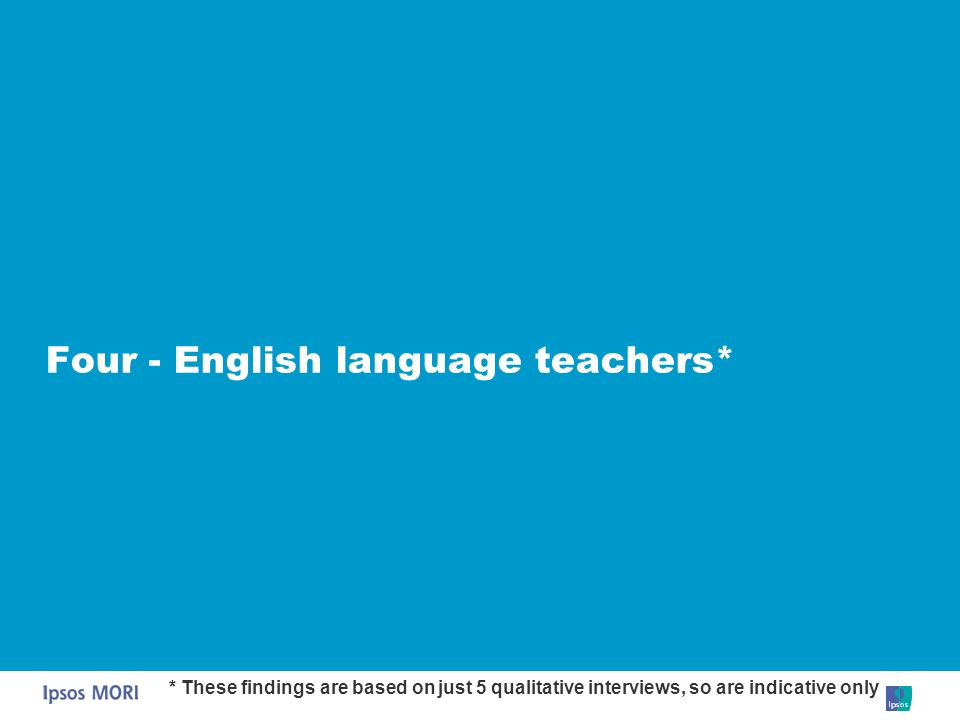Four - English language teachers* * These findings are based on just 5 qualitative interviews, so are indicative only