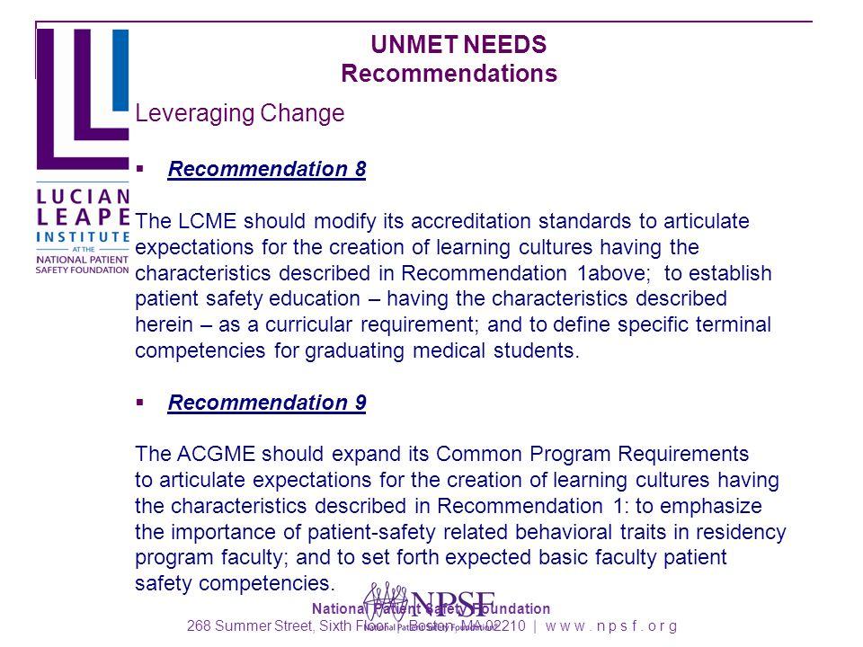 National Patient Safety Foundation 268 Summer Street, Sixth Floor | Boston, MA 02210 | w w w.
