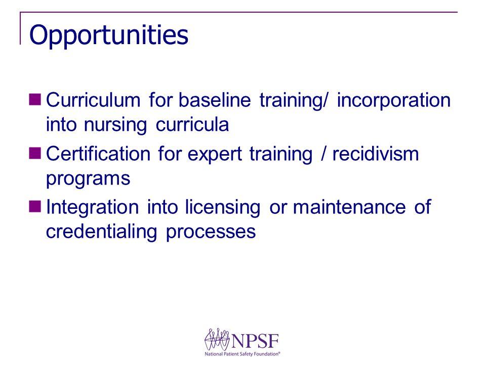 Opportunities Curriculum for baseline training/ incorporation into nursing curricula Certification for expert training / recidivism programs Integrati