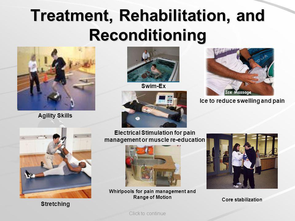 Click to continue Treatment, Rehabilitation, and Reconditioning Agility Skills Stretching Swim-Ex Electrical Stimulation for pain management or muscle re-education Ice to reduce swelling and pain Core stabilization Whirlpools for pain management and Range of Motion