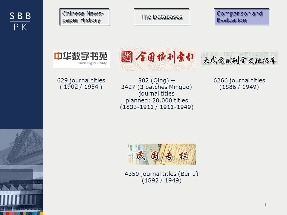 | 6266 journal titles (1886 / 1949) 4350 journal titles (BeiTu) (1892 / 1949) 629 journal titles 1902 / (Qing) (3 batches Minguo) journal titles planned: titles ( / ) Chinese News- paper History The Databases Comparison and Evaluation
