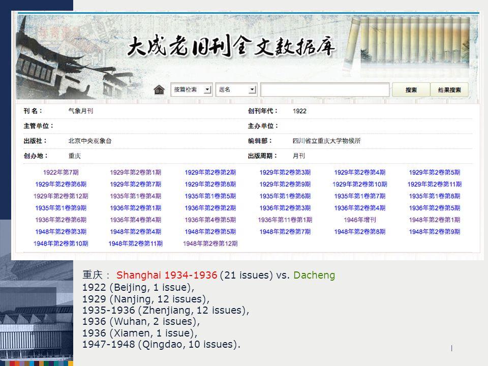 | Shanghai 1934-1936 (21 issues) vs. Dacheng 1922 (Beijing, 1 issue), 1929 (Nanjing, 12 issues), 1935-1936 (Zhenjiang, 12 issues), 1936 (Wuhan, 2 issu