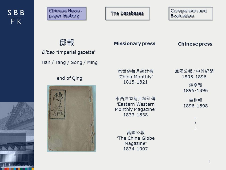 | Chinese News- paper History The Databases Comparison and Evaluation / Dibao Imperial gazette Han / Tang / Song / Ming end of Qing Missionary press China Monthly Eastern Western Monthly Magazine The China Globe Magazine Chinese press