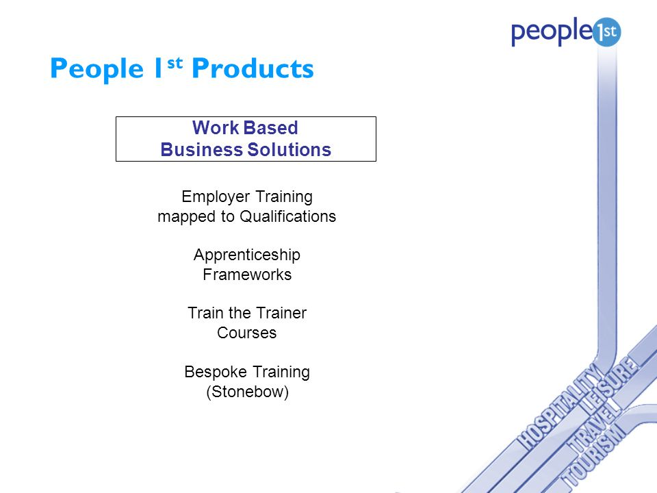 People 1 st Products Work Based Business Solutions Employer Training mapped to Qualifications Apprenticeship Frameworks Train the Trainer Courses Bespoke Training (Stonebow)
