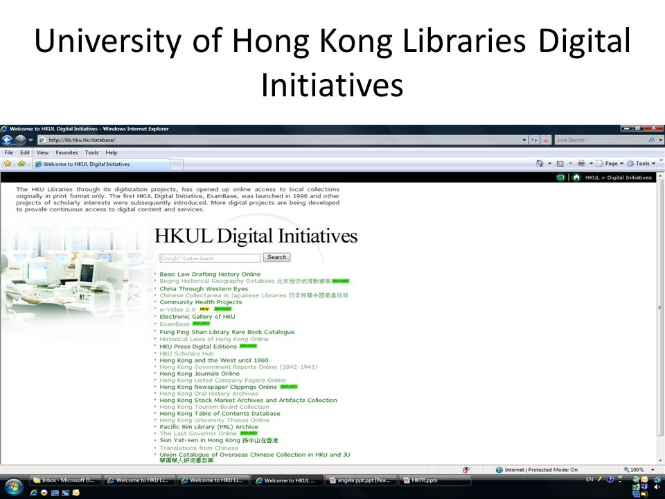 University of Hong Kong Libraries Digital Initiatives