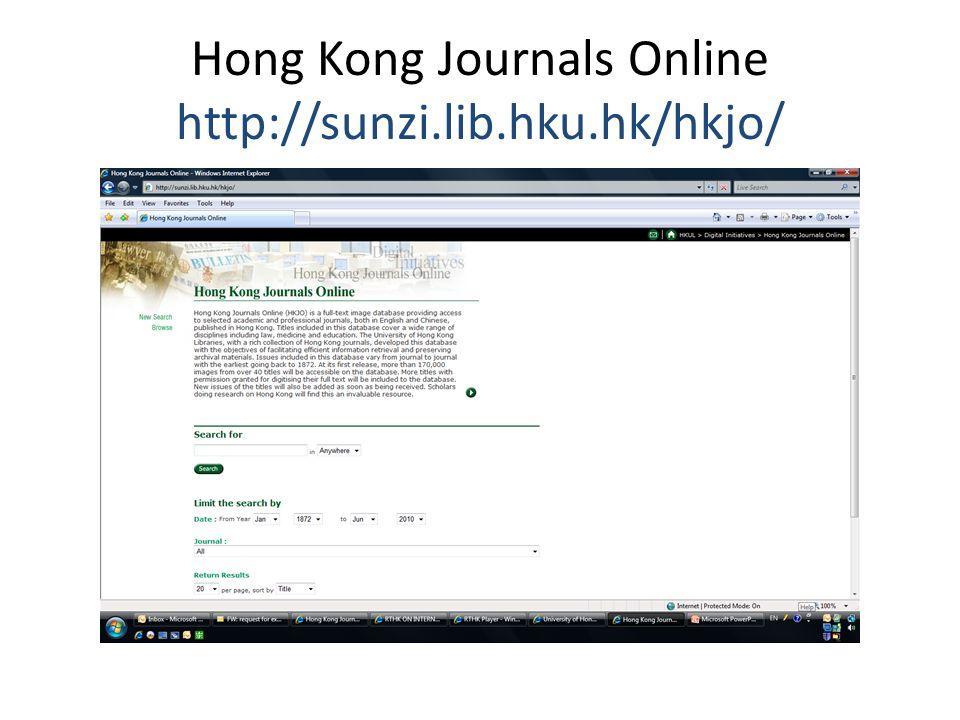 Hong Kong Journals Online http://sunzi.lib.hku.hk/hkjo/