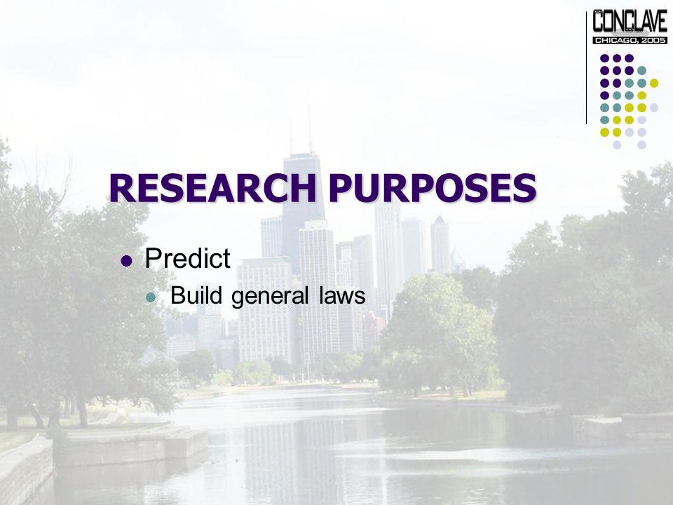 RESEARCH PURPOSES Predict Build general laws
