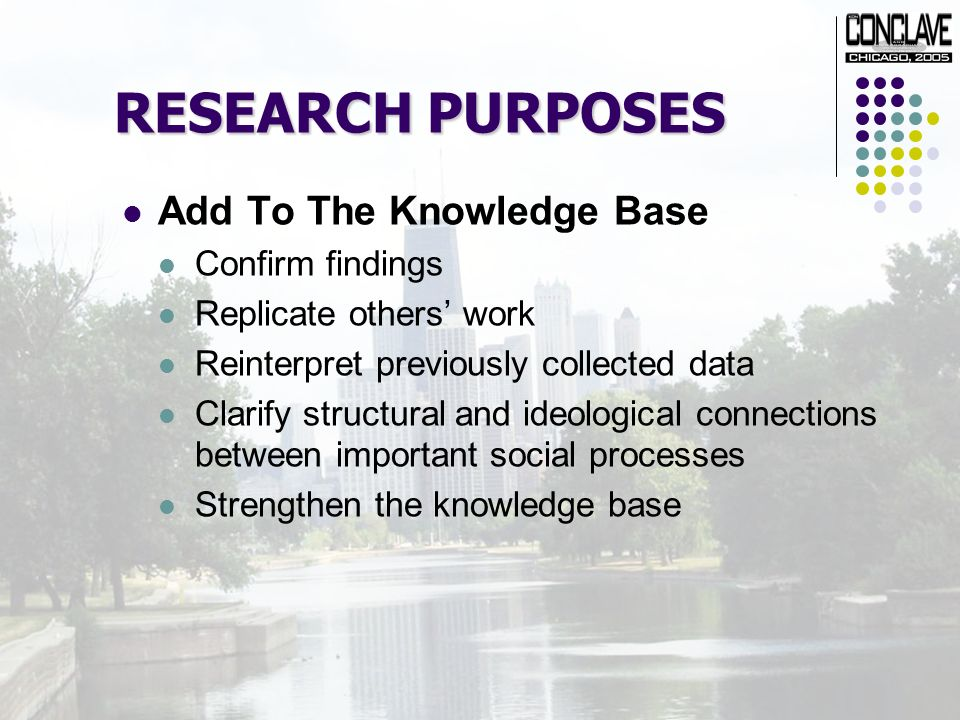 RESEARCH PURPOSES Add To The Knowledge Base Confirm findings Replicate others work Reinterpret previously collected data Clarify structural and ideological connections between important social processes Strengthen the knowledge base