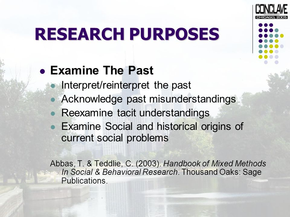 RESEARCH PURPOSES Examine The Past Interpret/reinterpret the past Acknowledge past misunderstandings Reexamine tacit understandings Examine Social and historical origins of current social problems Abbas, T.