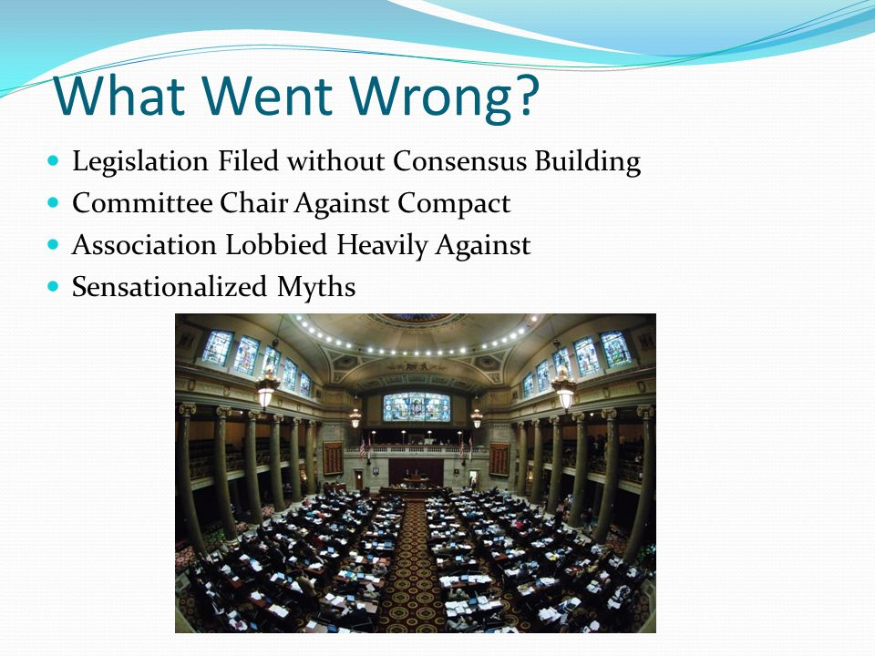 What Went Wrong? Legislation Filed without Consensus Building Committee Chair Against Compact Association Lobbied Heavily Against Sensationalized Myth
