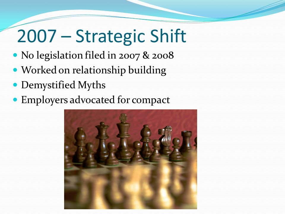 2007 – Strategic Shift No legislation filed in 2007 & 2008 Worked on relationship building Demystified Myths Employers advocated for compact
