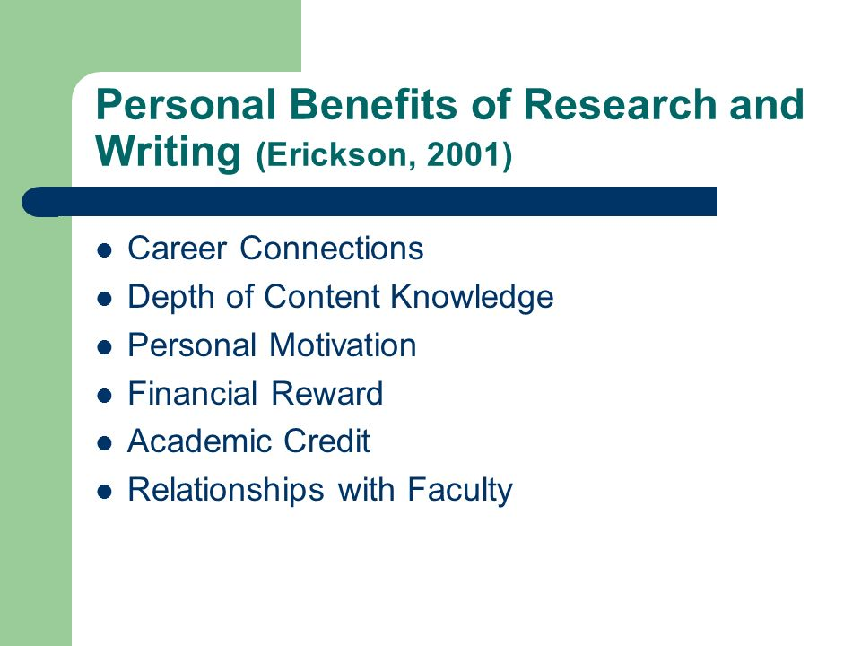 Personal Benefits of Research and Writing (Erickson, 2001) Career Connections Depth of Content Knowledge Personal Motivation Financial Reward Academic Credit Relationships with Faculty