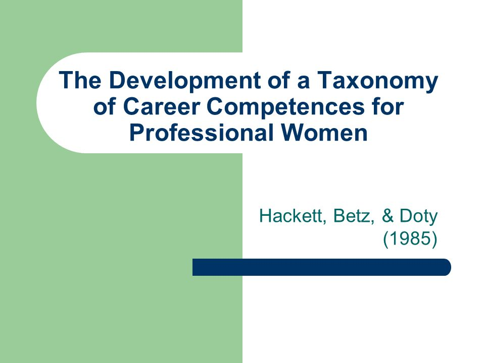 The Development of a Taxonomy of Career Competences for Professional Women Hackett, Betz, & Doty (1985)