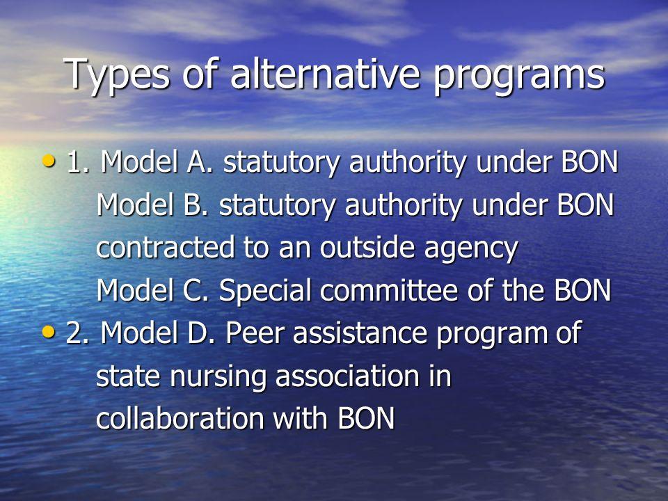 Types of alternative programs 1. Model A. statutory authority under BON 1. Model A. statutory authority under BON Model B. statutory authority under B