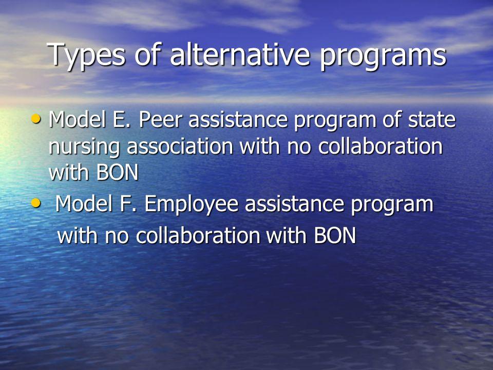 Types of alternative programs Model E. Peer assistance program of state nursing association with no collaboration with BON Model E. Peer assistance pr