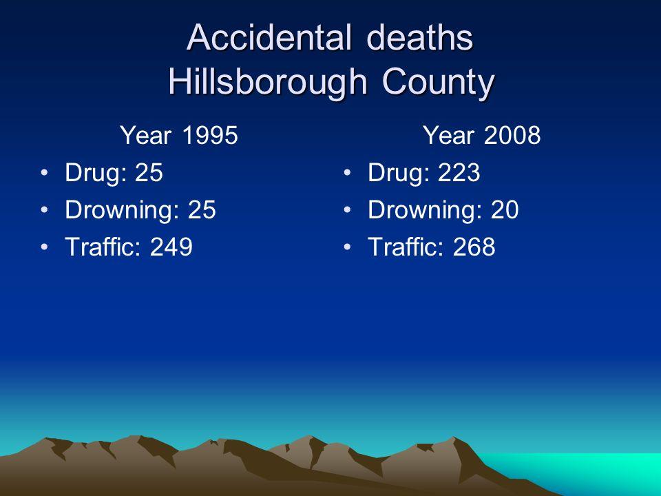Accidental deaths Hillsborough County Year 1995 Drug: 25 Drowning: 25 Traffic: 249 Year 2008 Drug: 223 Drowning: 20 Traffic: 268