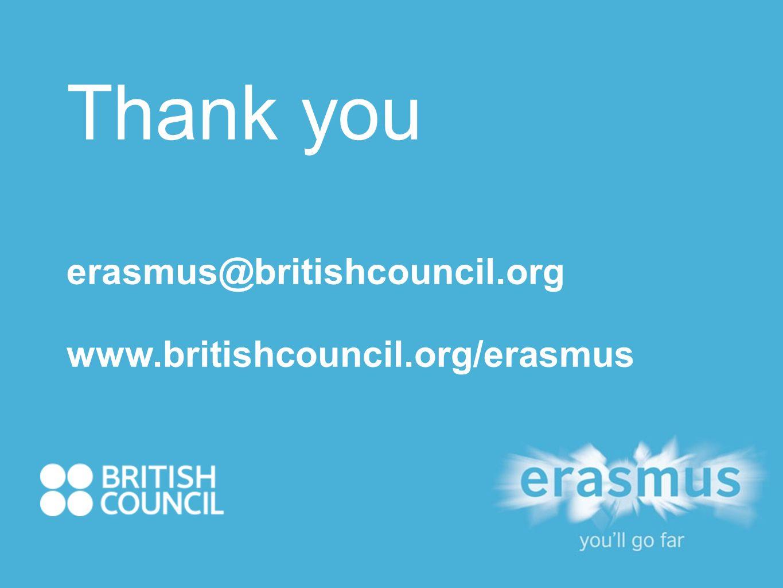Thank you erasmus@britishcouncil.org www.britishcouncil.org/erasmus
