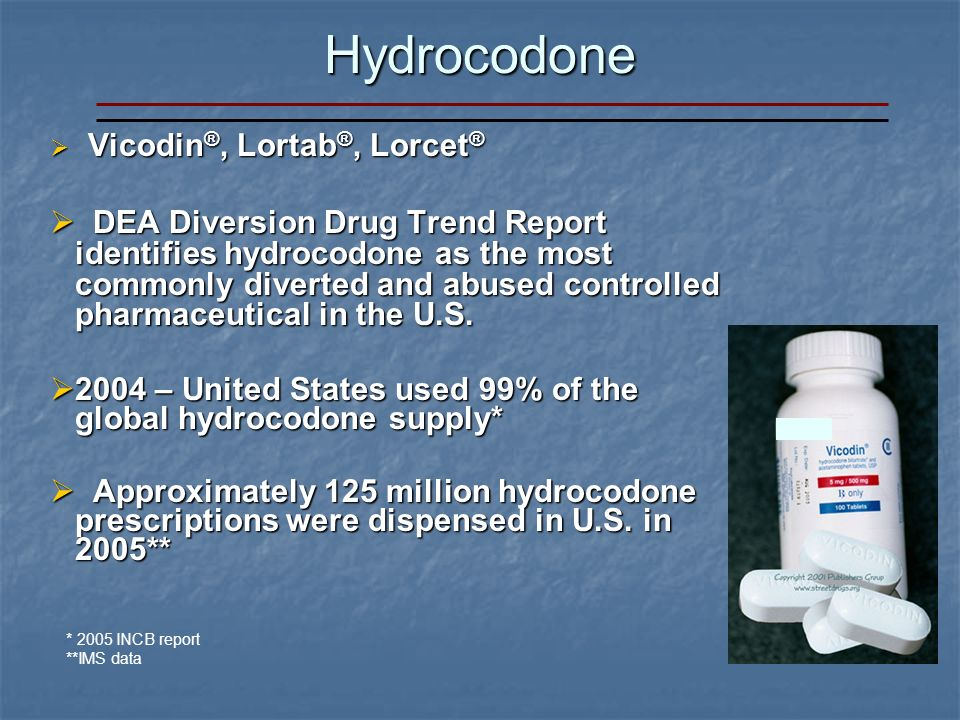 Hydrocodone Vicodin ®, Lortab ®, Lorcet ® Vicodin ®, Lortab ®, Lorcet ® DEA Diversion Drug Trend Report identifies hydrocodone as the most commonly diverted and abused controlled pharmaceutical in the U.S.