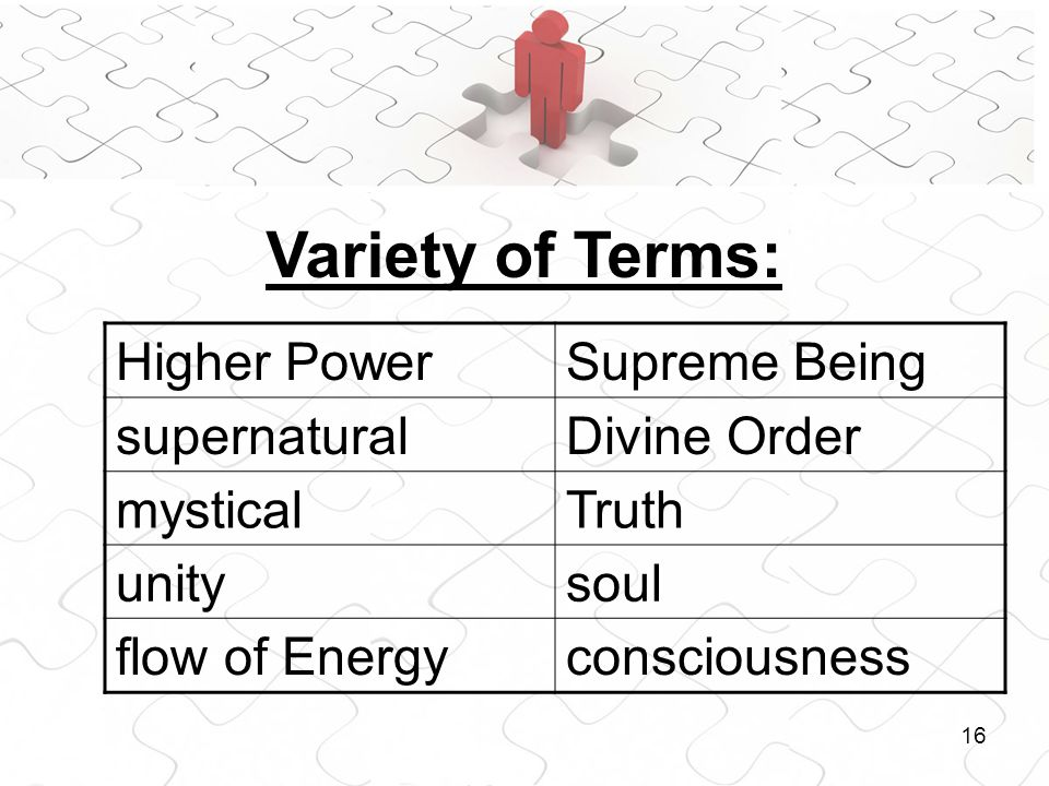 16 Higher PowerSupreme Being supernaturalDivine Order mysticalTruth unitysoul flow of Energyconsciousness Variety of Terms: