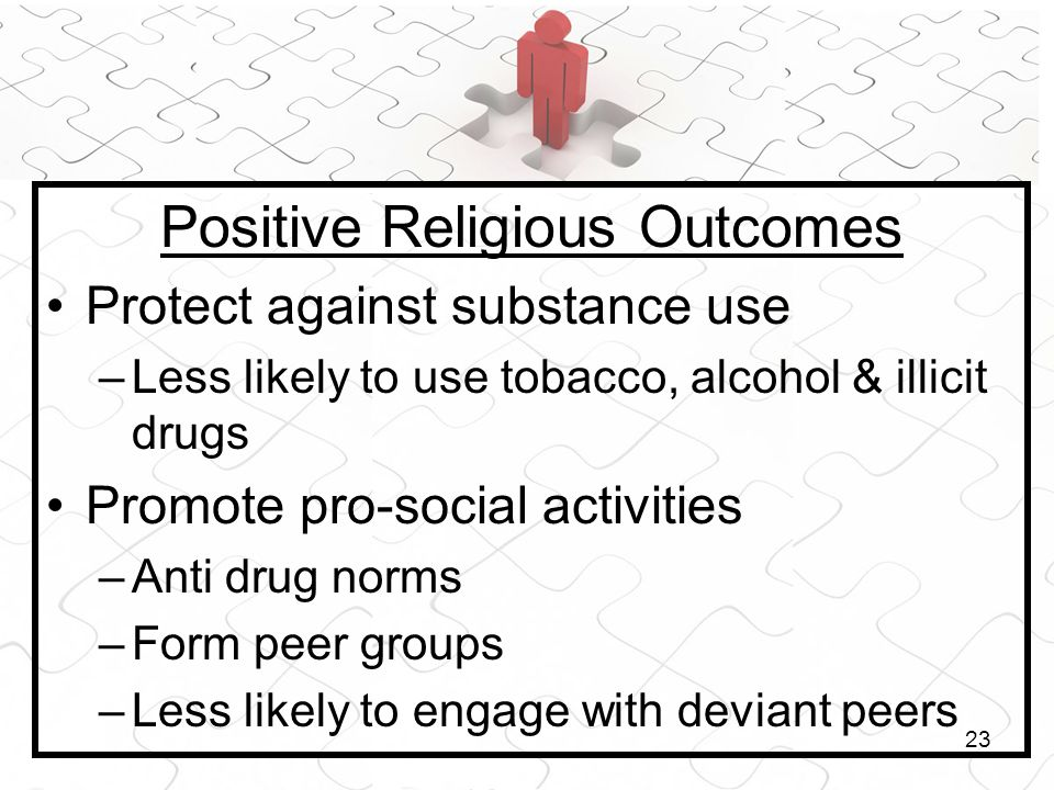 23 Positive Religious Outcomes Protect against substance use –Less likely to use tobacco, alcohol & illicit drugs Promote pro-social activities –Anti
