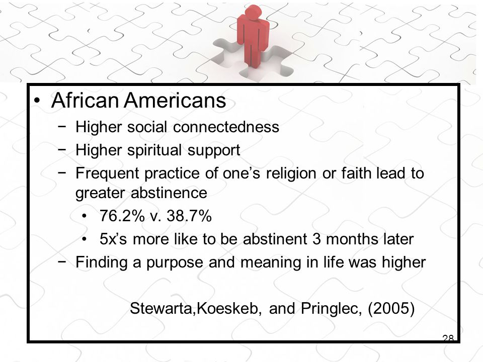 28 African Americans Higher social connectedness Higher spiritual support Frequent practice of ones religion or faith lead to greater abstinence 76.2%