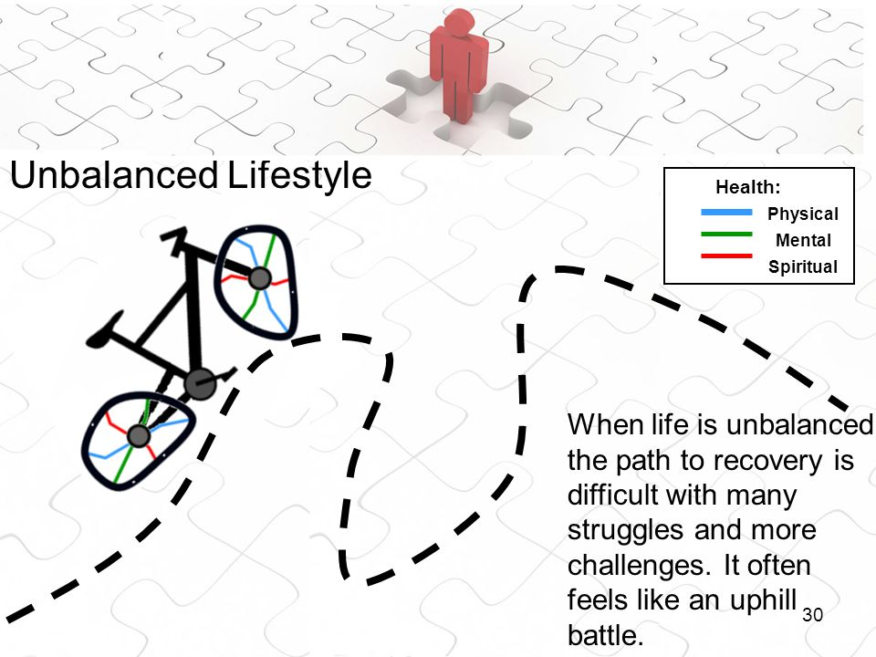 30 Unbalanced Lifestyle When life is unbalanced the path to recovery is difficult with many struggles and more challenges. It often feels like an uphi
