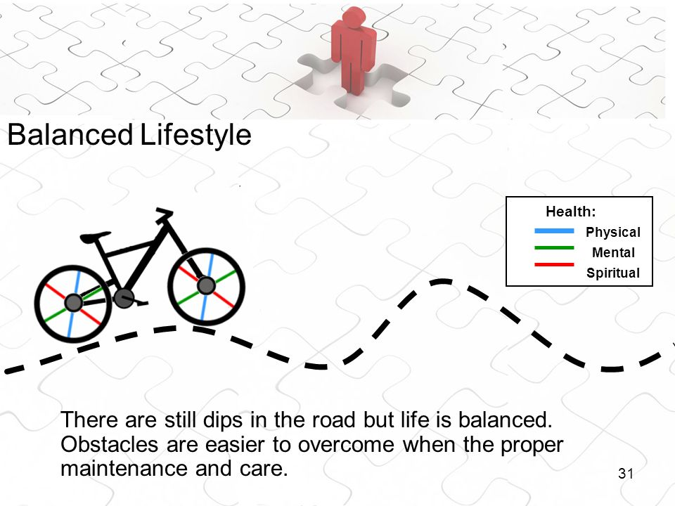31 There are still dips in the road but life is balanced. Obstacles are easier to overcome when the proper maintenance and care. Health: Physical Ment