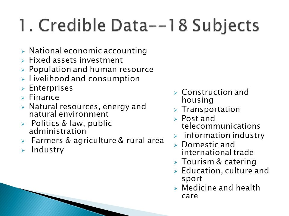 National economic accounting Fixed assets investment Population and human resource Livelihood and consumption Enterprises Finance Natural resources, e