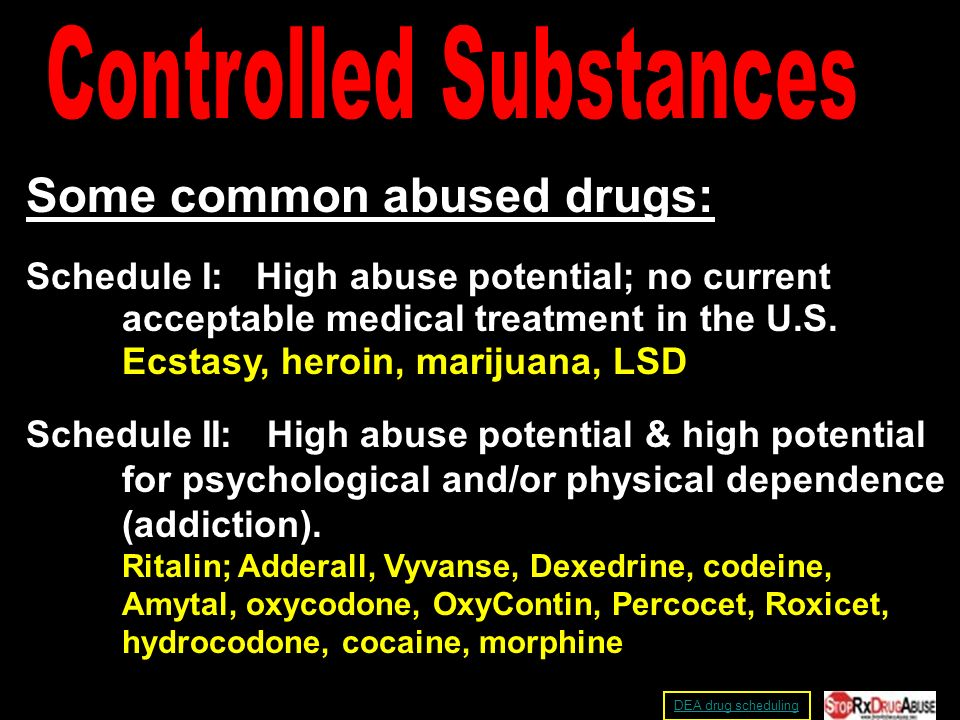 Some common abused drugs: Schedule I: High abuse potential; no current acceptable medical treatment in the U.S.