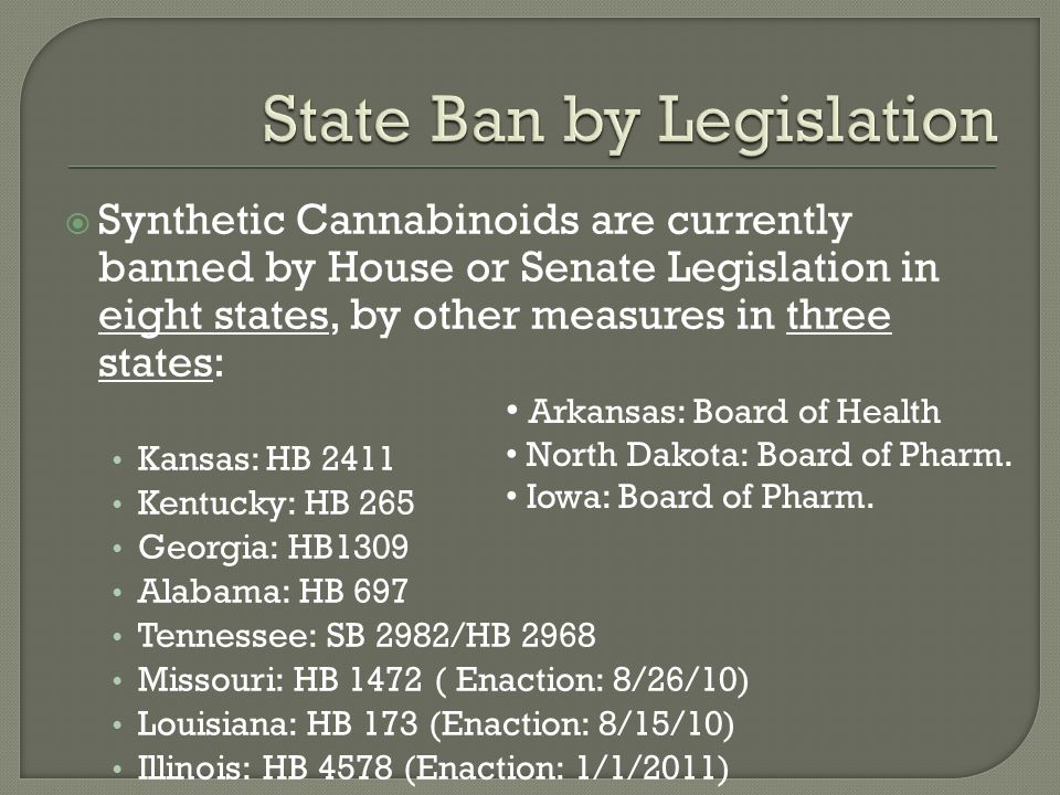 Synthetic Cannabinoids are currently banned by House or Senate Legislation in eight states, by other measures in three states: Kansas: HB 2411 Kentucky: HB 265 Georgia: HB1309 Alabama: HB 697 Tennessee: SB 2982/HB 2968 Missouri: HB 1472 ( Enaction: 8/26/10) Louisiana: HB 173 (Enaction: 8/15/10) Illinois: HB 4578 (Enaction: 1/1/2011) Arkansas: Board of Health North Dakota: Board of Pharm.